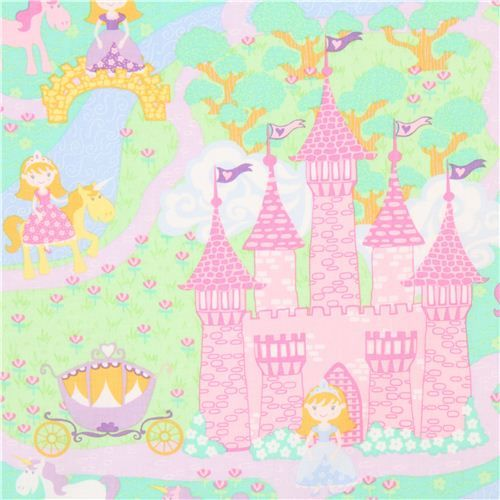 pink Timeless Treasures princess fairy tale castle fabric