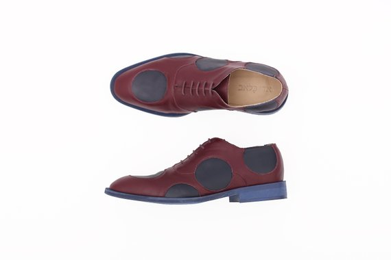 Men S Oxfords Shoes Purple And Blue Poke Dots Design Leather Shoes For Men Handmade Free Shipping Oxford Shoes Women Oxford Shoes Leather Shoes