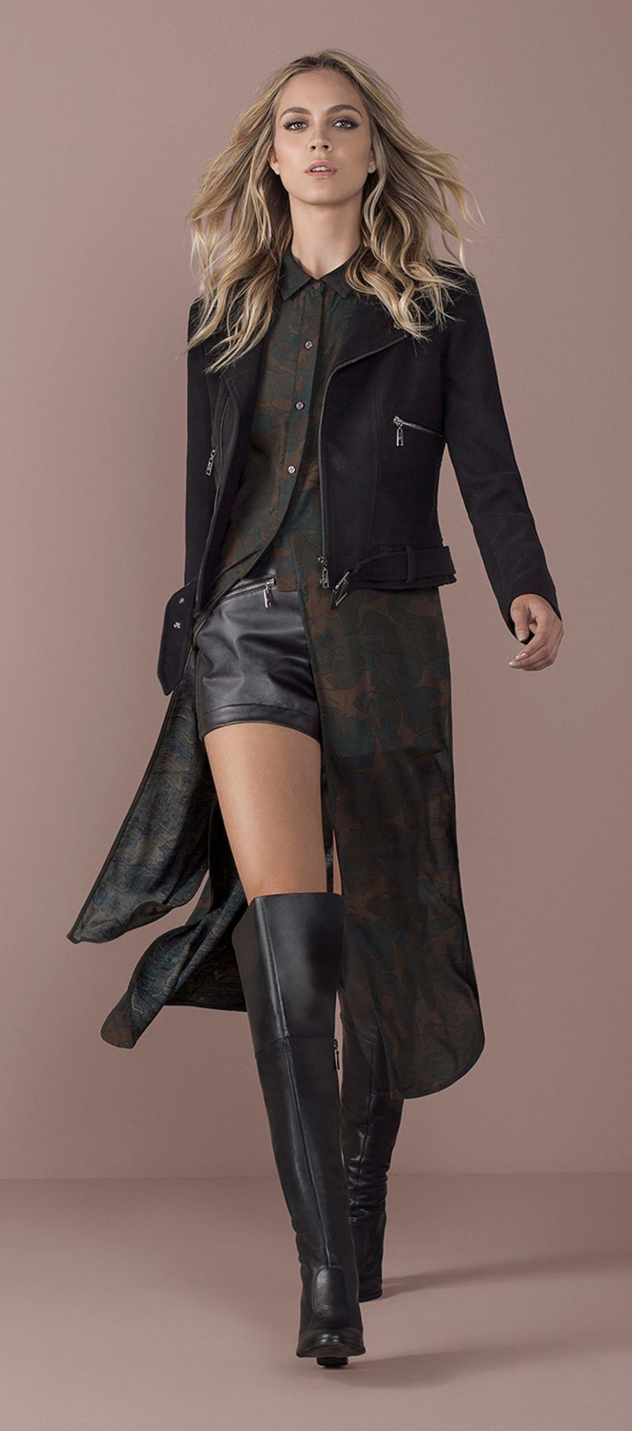fb28a8650d shorts couro camisa longa militar jaqueta bota cano alto ate joelhos ...