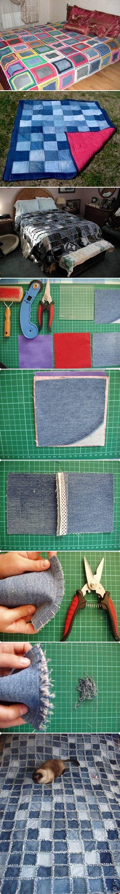 DIY Sew Denim Bedspread Recycled Upcycled denim old jeans RECICLAR REUTILIZAR VIEJOS PANTALONES TEJANOS COLCHAS PATCHWORK