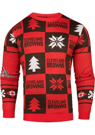db1217f126b Cleveland Browns Mens Red Patches Ugly Crew Neck Sweater