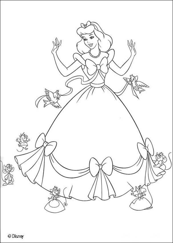 Coloring Page About Cinderella Disney Movie Nice Drawing Of In A Beautiful Dress With