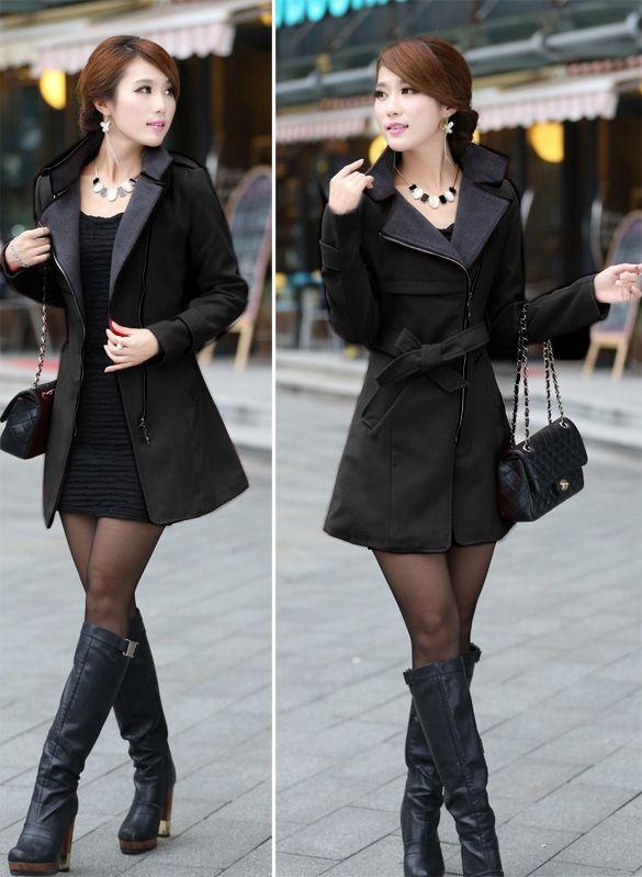 FINEJO Fashion Women Casual Solid Wool Blend Long Coat Trench Outwear With Belt