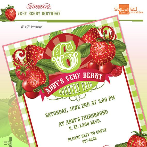 Strawberry Birthday Party Invitation DIY Printable DoIt – Do It Yourself Party Invitations