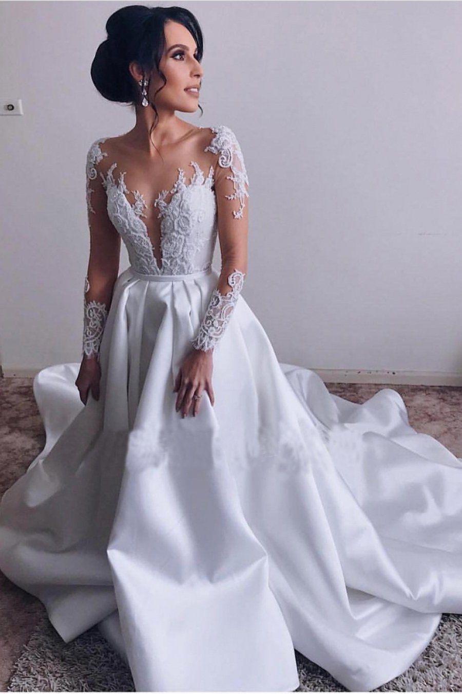 26++ Satin long sleeve backless wedding dress information