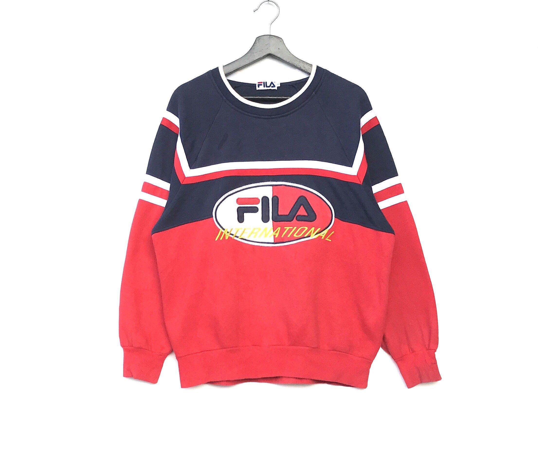 4344889590d2 FILA INTERNATIONAL Big Logo Embroidery Men Clothing Sweatshirt Pullover  Jumper Fila stripes Multicolour Italia Fits medium size  clothing  hoodie   red ...