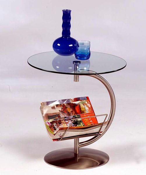 Beistelltisch Glastisch 50cm rund mit Ablage Neu