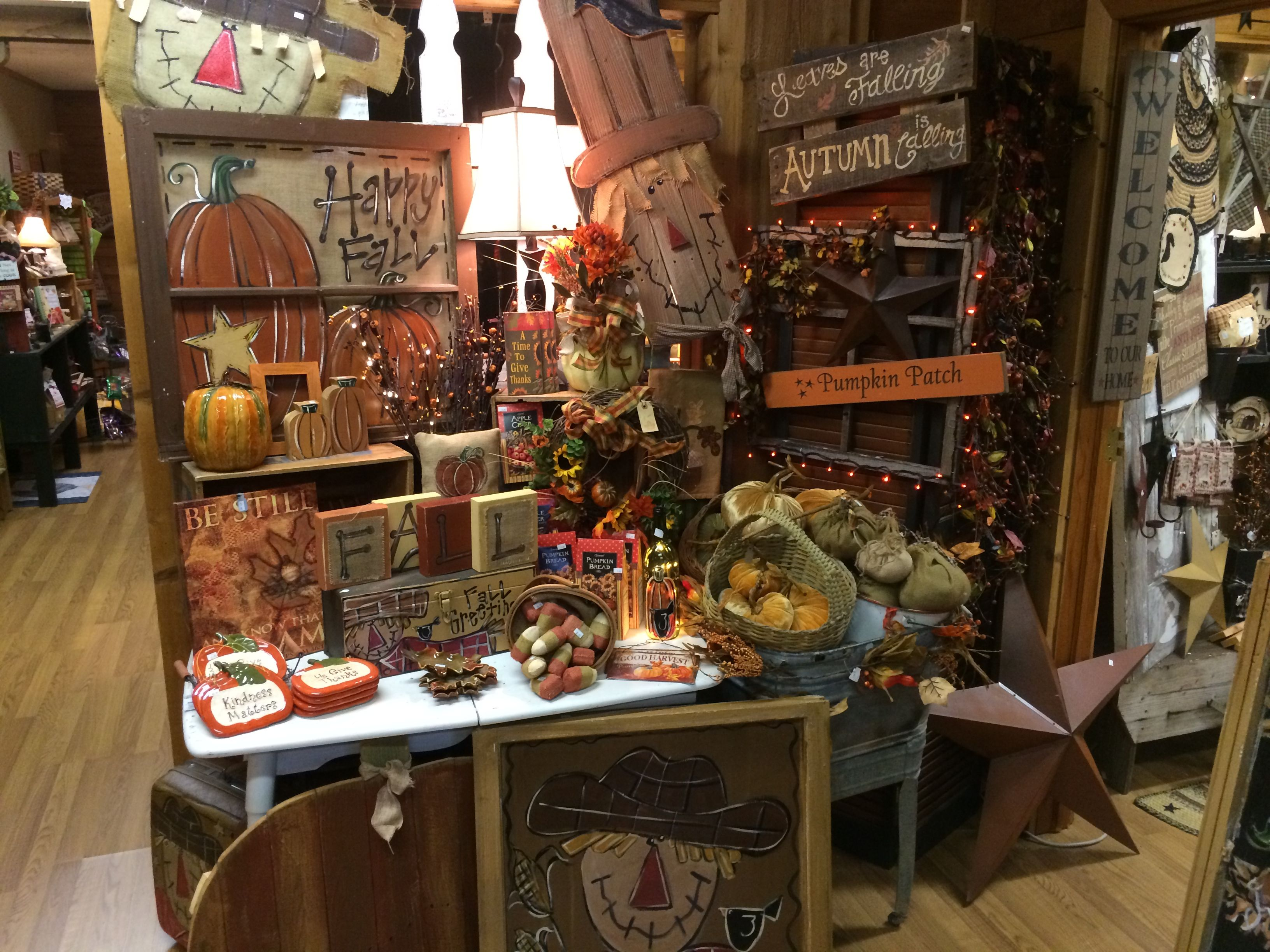 Fall Merchandise Display Clever Creek Primitives Www Facebook Com
