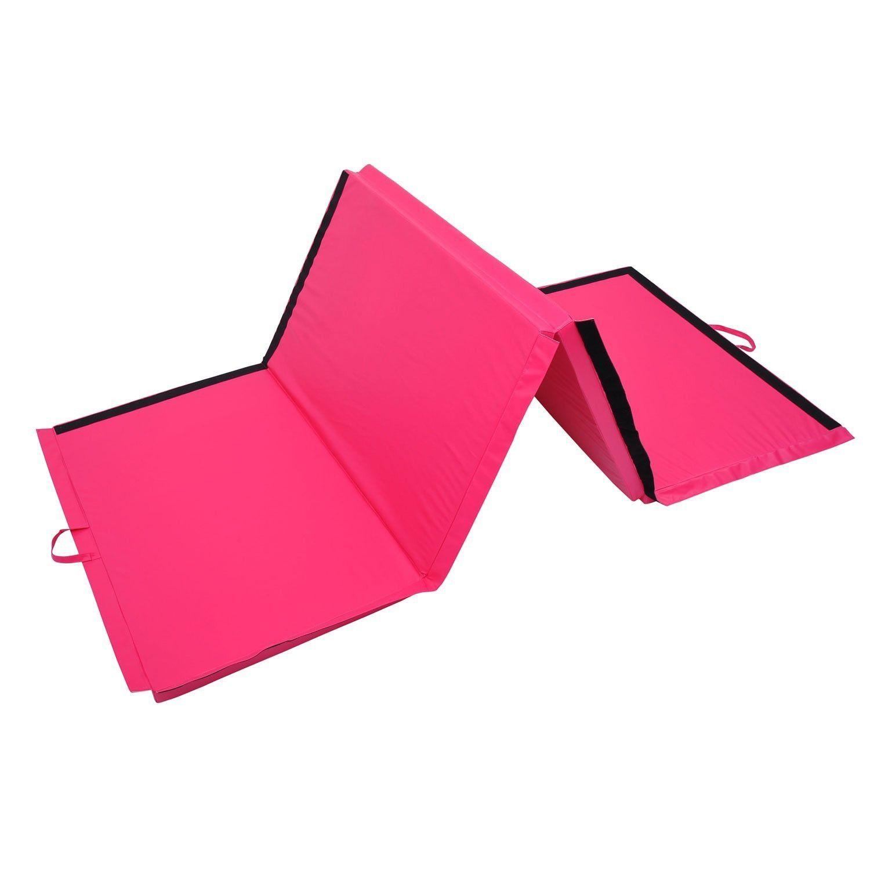 homcom thick clearance gym cm folding pink yoga pilates mat mats leisure gymnastics fitness foam sports black exercise floor diy