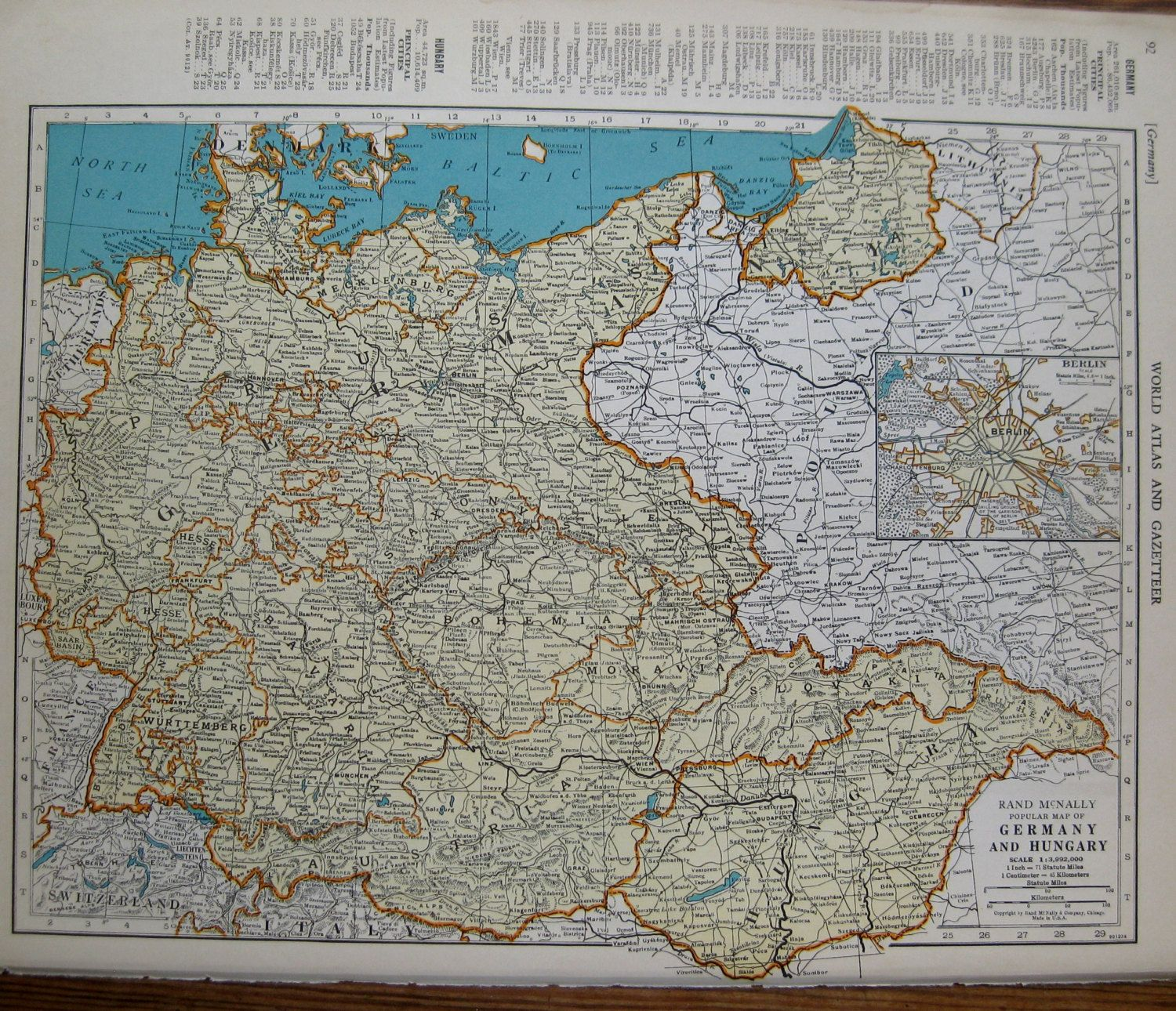 Map Of Germany And Hungary.Antique Germany Map Hungary Map 1939 Vintage 1930s Map Plaindealing