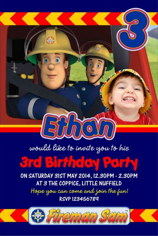 Personalised Birthday Invitations Fireman Sam X 5 Birthdays