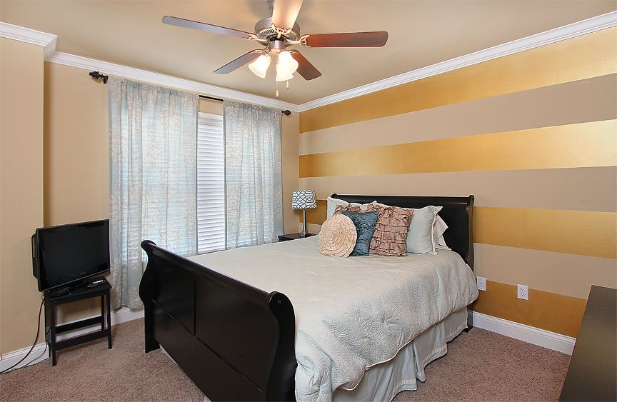 My Bedroom Made The Website My Very Own Striped Metallic Accent Wall Tan Wall With Gold Me Accent Wall Bedroom Gold Accent Wall Bedroom Striped Accent Walls
