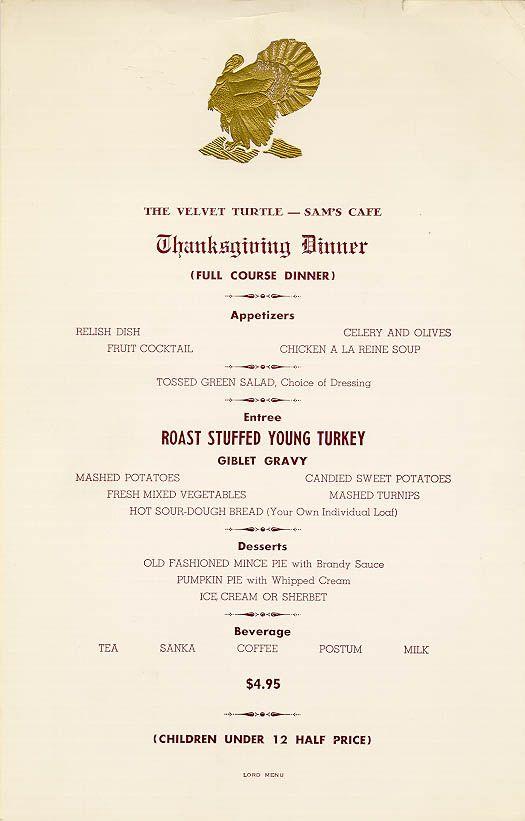 The Velvet Turtle Sams Cafe 1960s Thanksgiving Menu Menu