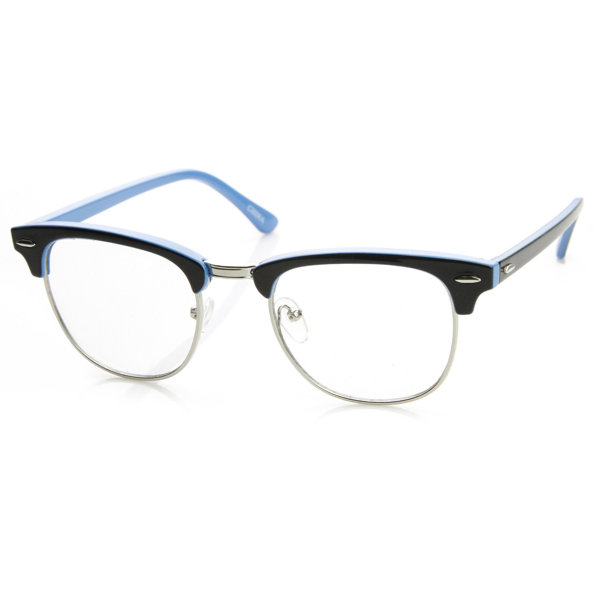 4640656e876 Retro Two Tone Colorful Clear Lens Half Frame Wayfarer Glasses 9184 ...