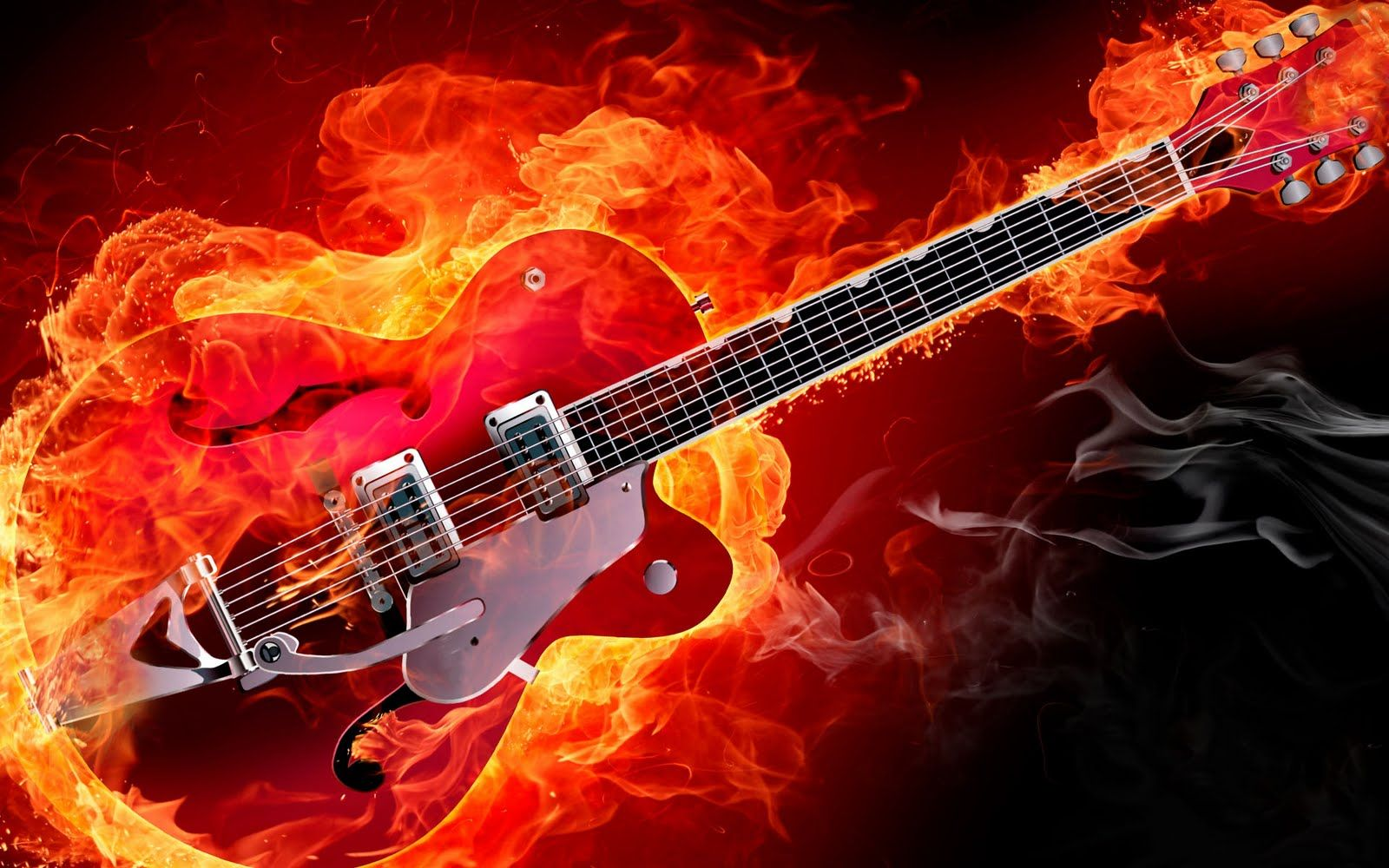 Electric Rockabilly Guitar On Fire Red Smoke Flames HD Music Desktop Wallpaper 1920x1200 Great Sound GreatGuitarSound Wallpapers