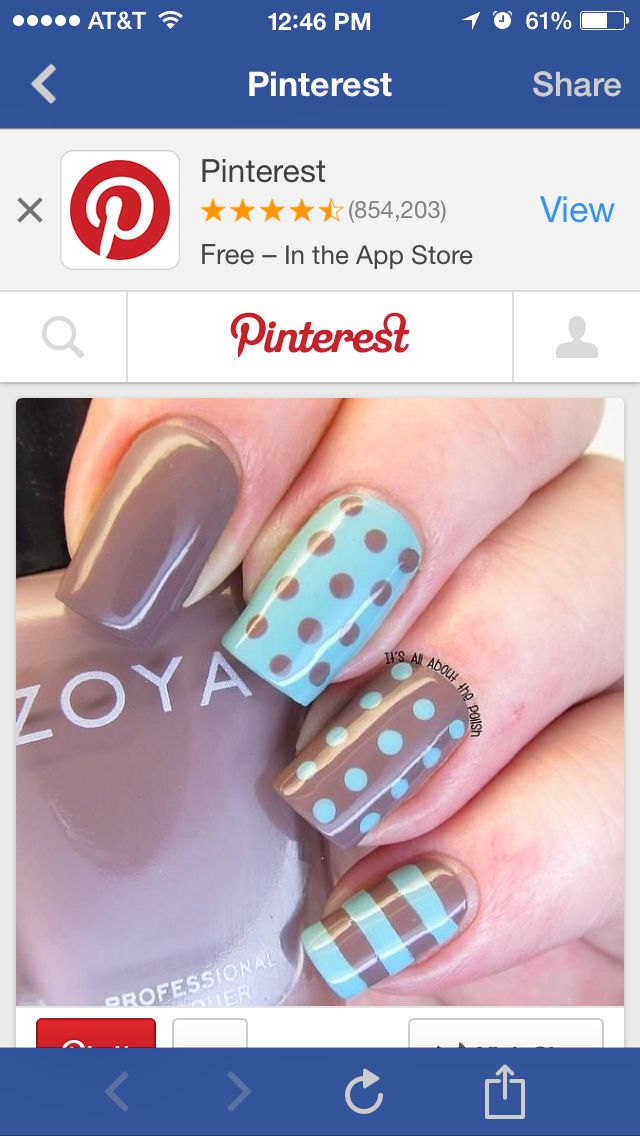 Brown and mint | Nails | Pinterest