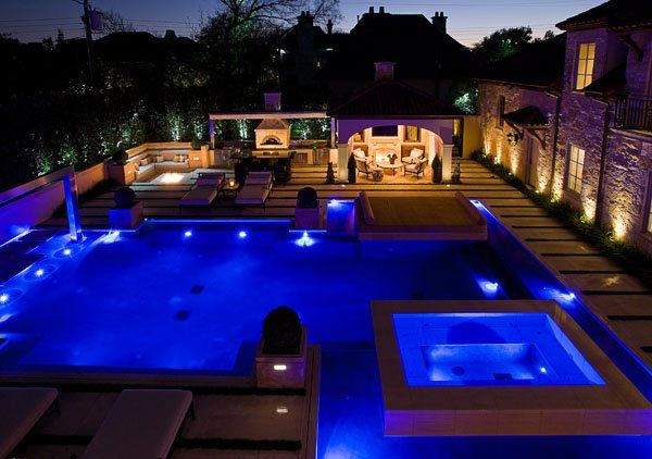 Outdoor Swimming Pool With Luxury Design And Lighting