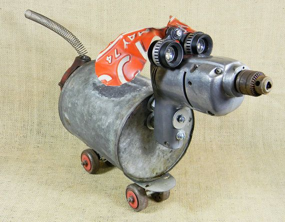 SCOOTER robot dog assemblage Reclaim2Fame by reclaim2fame, $249.00