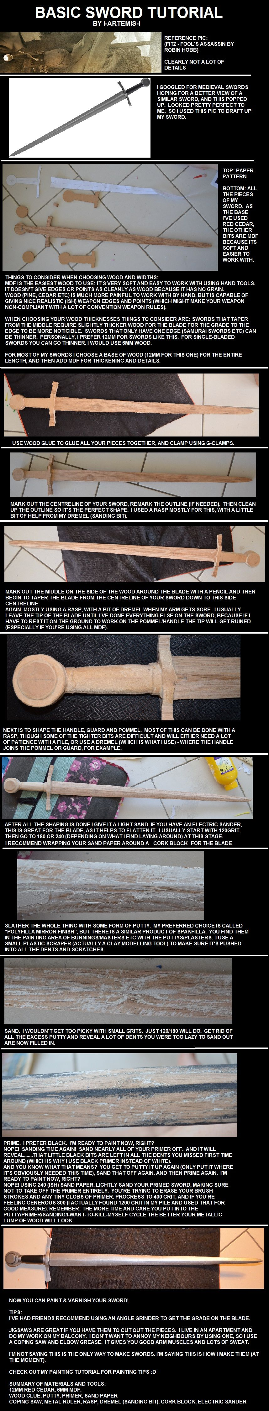 Wooden Sword Tutorial Use A Putty To Fill In Dents And Scratches