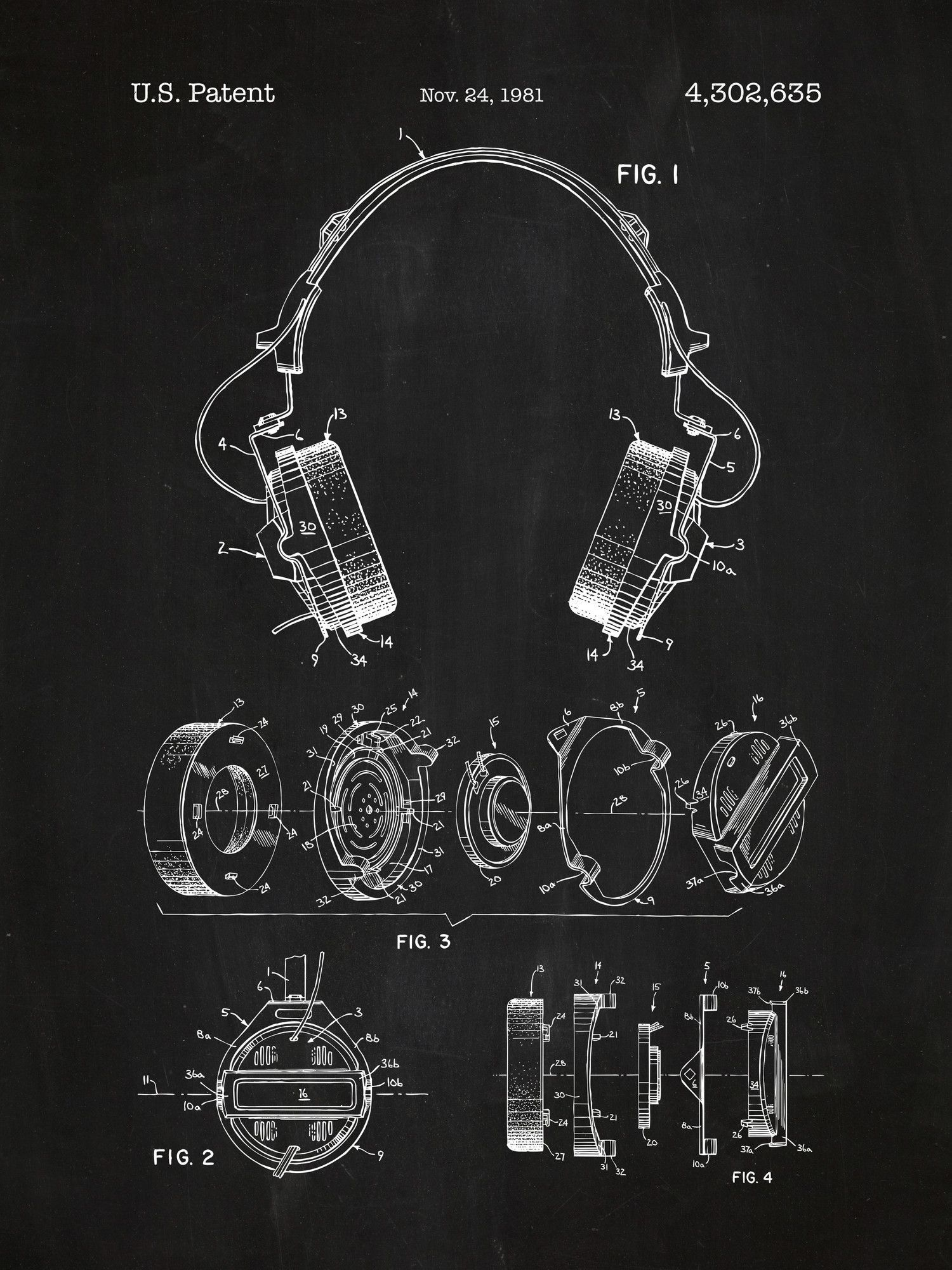 Headphones blueprint graphic art poster in chalkboardwhite ink headphones blueprint graphic art poster in chalkboardwhite ink malvernweather Images