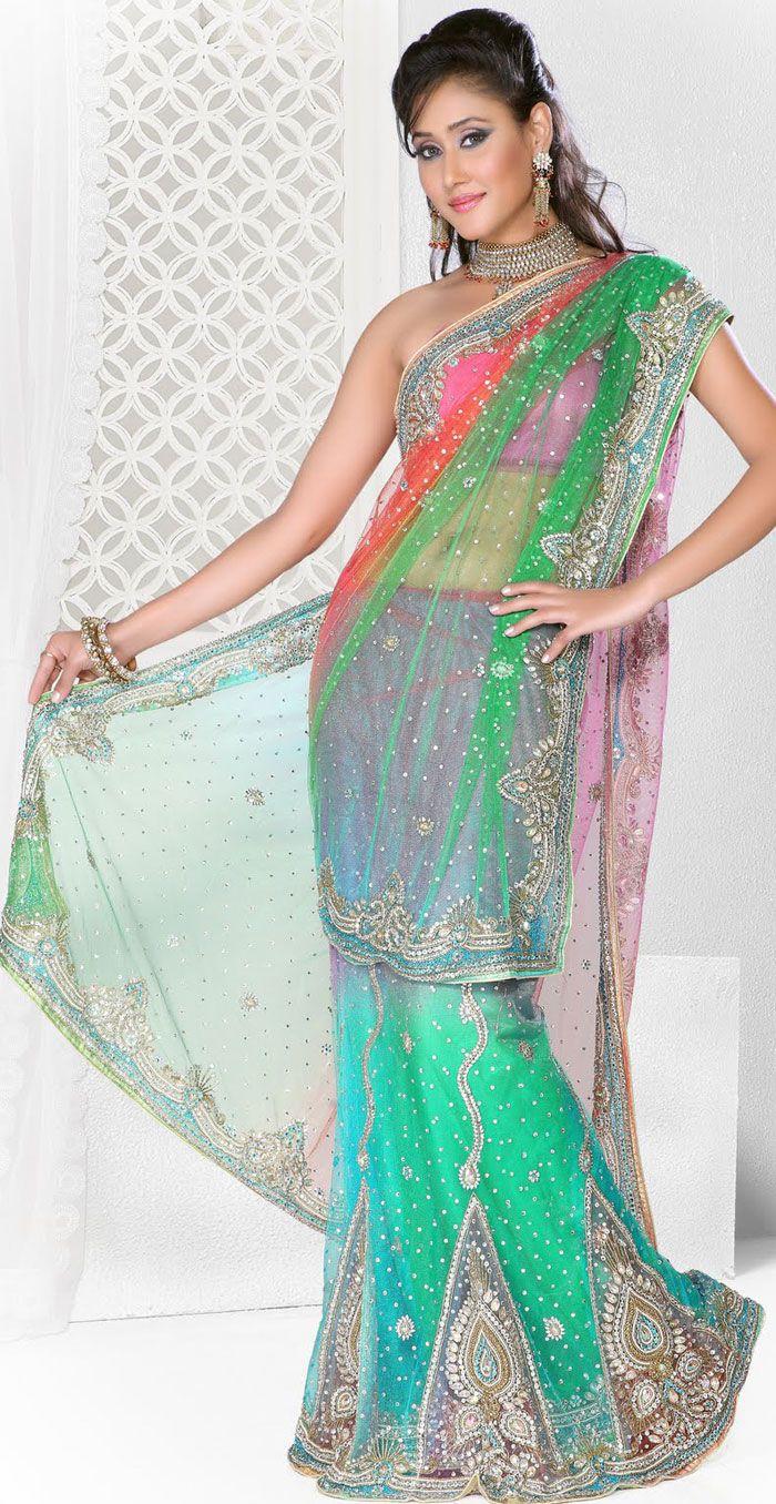 Latest #Indian #Bridal #Dresses Lehanga Style Party Wear Saree ...
