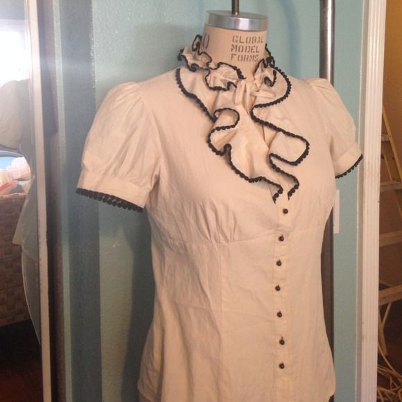 "Spotted while shopping on Poshmark: ""Beige ruffle blouse""! #poshmark #fashion #shopping #style #Forever 21 #Tops"