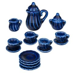 17 Piece Cobalt Blue Tea Set