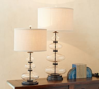 Estelle stacked glass table lamp base potterybarn 120 clear bronze iron base