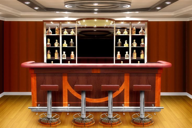 Modern Home Bar With Bright Colors