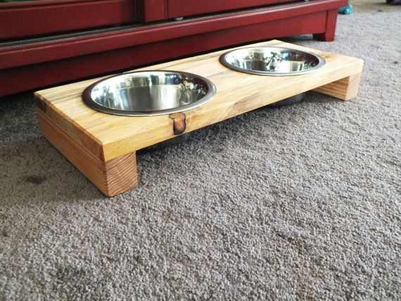 Pet Dish Holder Small Dog Feeder Rustic Cat Dish Holder Elevated Pet Feeder Simple Feeder Raised Pet Dish Pet Bowl Holder Dog Dish Cat Food Bowl Cat Dishes
