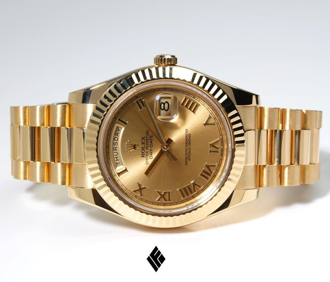 41mm Rolex Day Date Ii President Yellow Gold With Roman