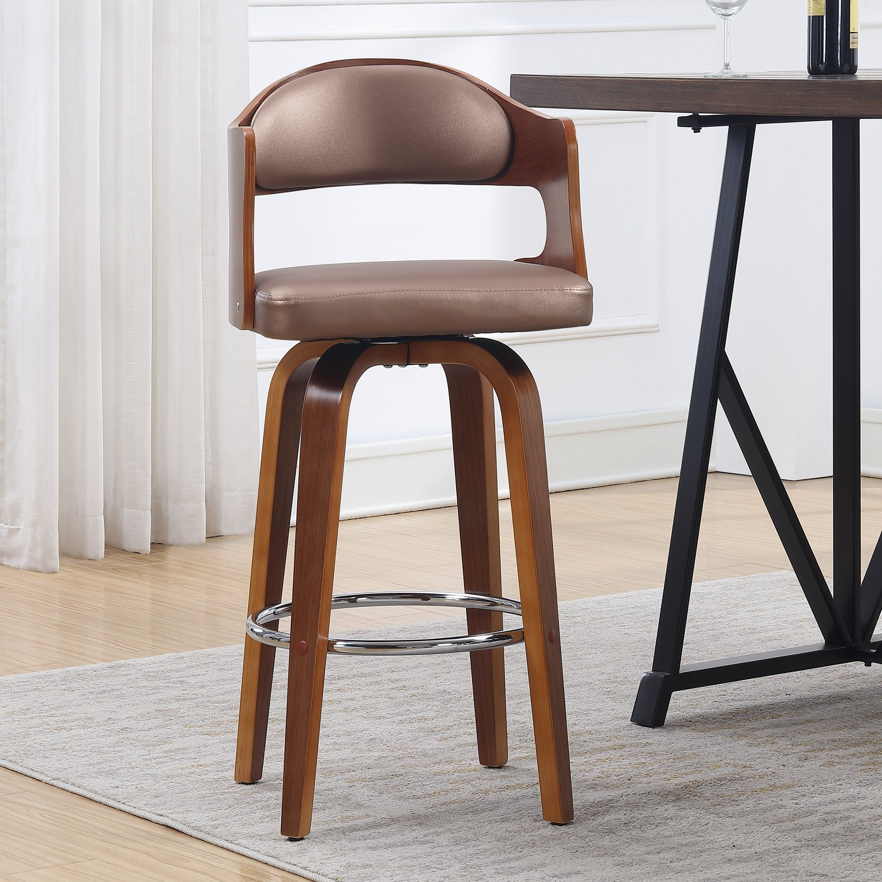 Wood And Faux Leather Mid Century 27 Inch Swivel Counter Stool Set