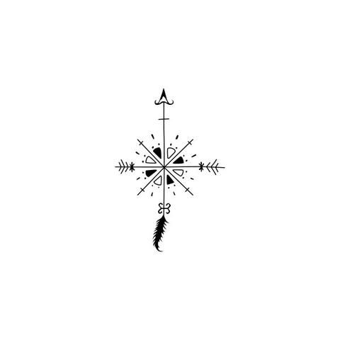 f8cea80754081 Arrow Compass Temporary Tattoo (Set of 2) Cute Foot Tattoos, Tribal Tattoos  For