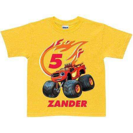 Personalized Blaze And The Monster Machines Birthday Yellow Toddler Boy T Shirt