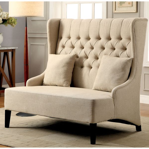 Furniture Of America Chierre Romantic Tufted Wingback Loveseat   Overstock  Shopping   Great Deals On Furniture