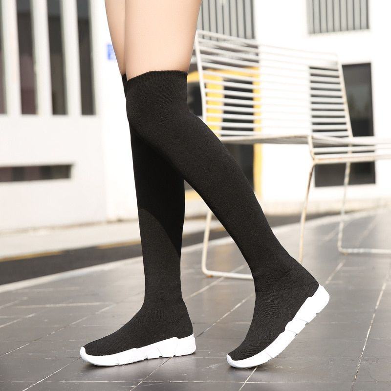 Over The Knee Women Sock Boots Platform Shoes Na01 Over The Knee Sock Boots Socks Women Knee Boots Outfit
