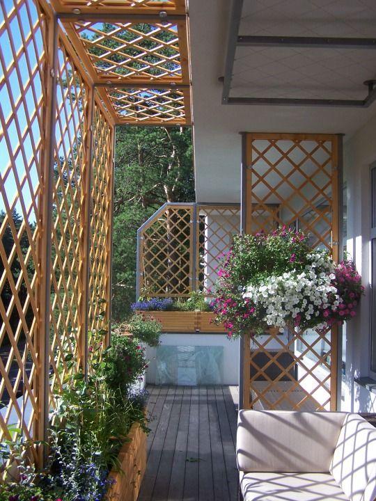 Pflanzkasten / Pflanzkübel lang aus Holz, Transparent Geölt Grau #smallbalconyfurniture