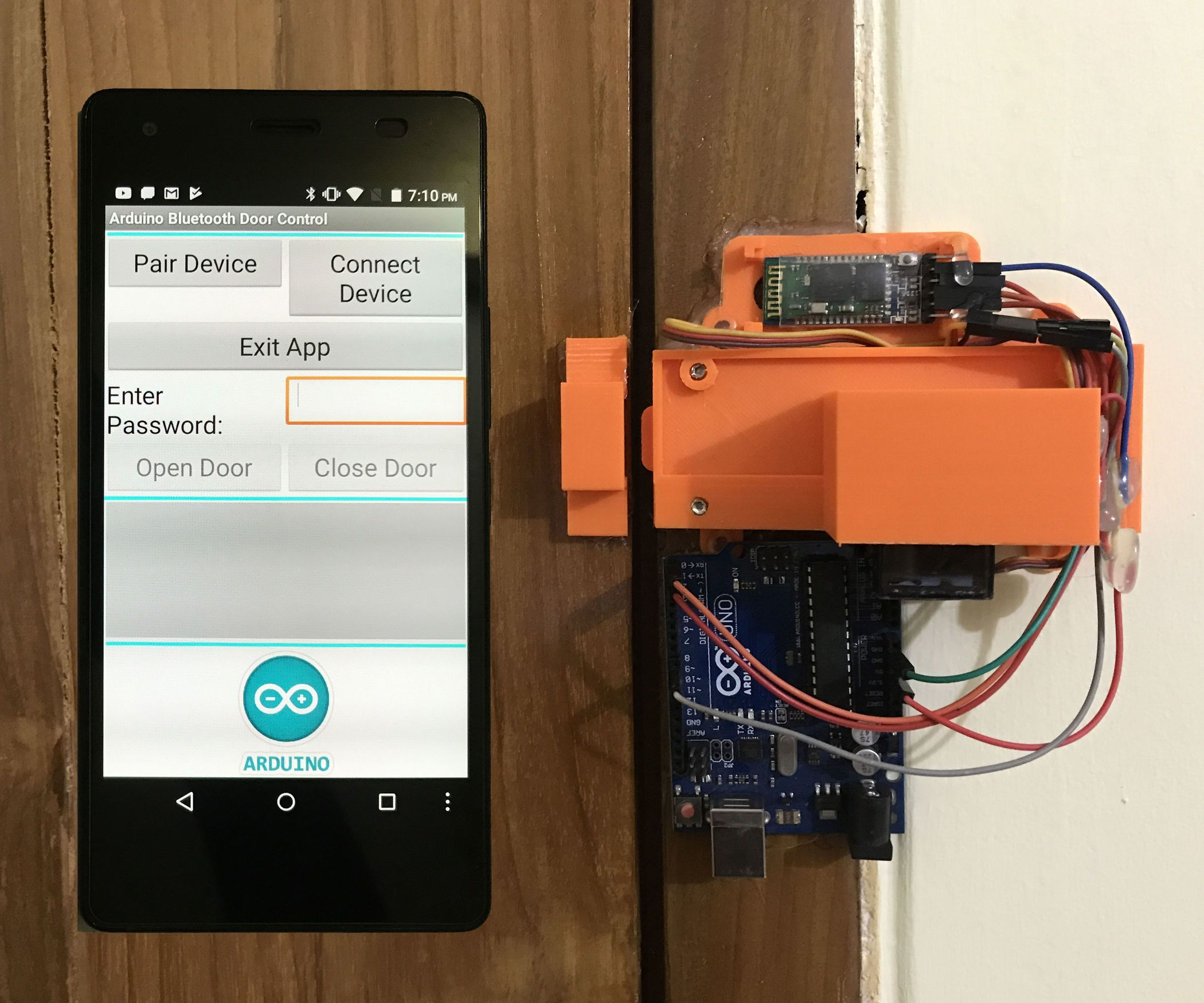 I Published An Instructable On Arduino Android Based Diy Smart Lock Which Can Be Open And Closed Using Password Sent Fr Arduino Door Lock System Arduino Wifi