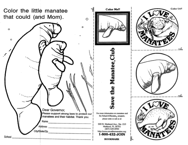 download and print our 2 sided coloring sheet that features a letter to floridas governor that you can address and send manatee designs to create a button