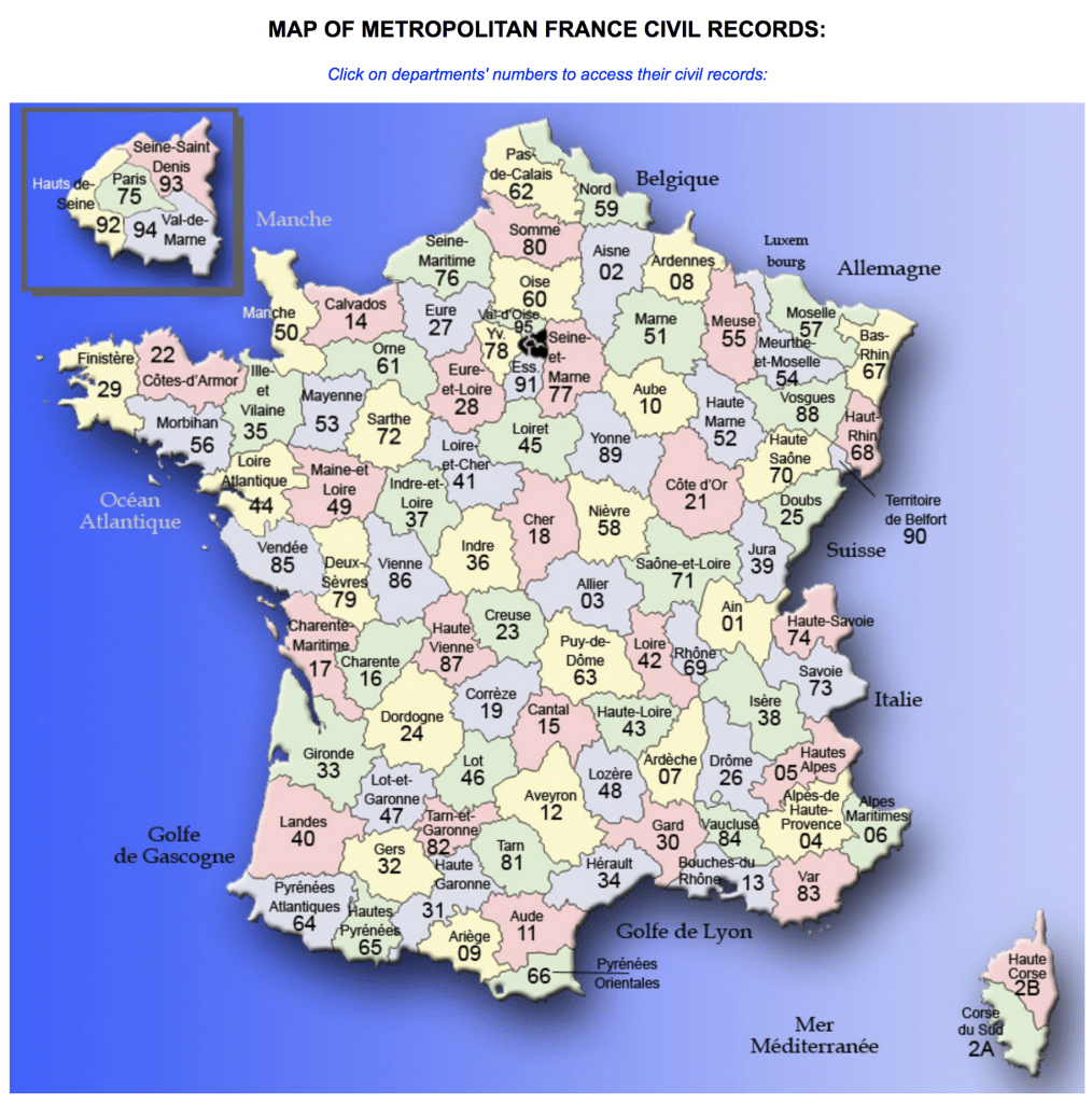 Map Of France Departments.Archivos Gen Briand French Genealogy France Genealogy
