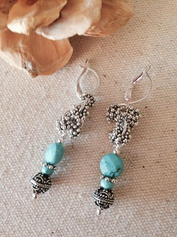 Faceted Turquoise & Filigree Beaded Earrings