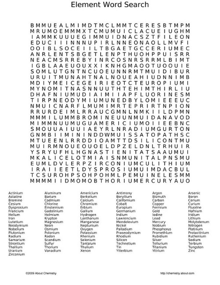Review the Periodic Table With a Fun Element Word Search