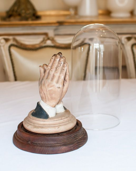 Antique Prayer Hands in Glass Case (BB)