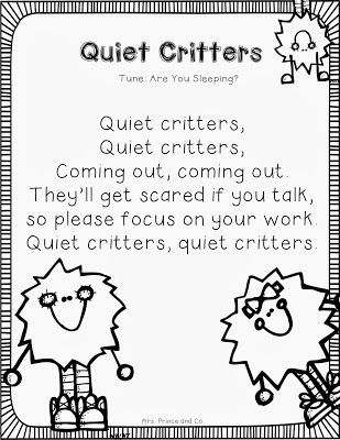 Helpful Hint {A Quiet Classroom} #quietcritters Cute Quiet Critters Song #quietcritters