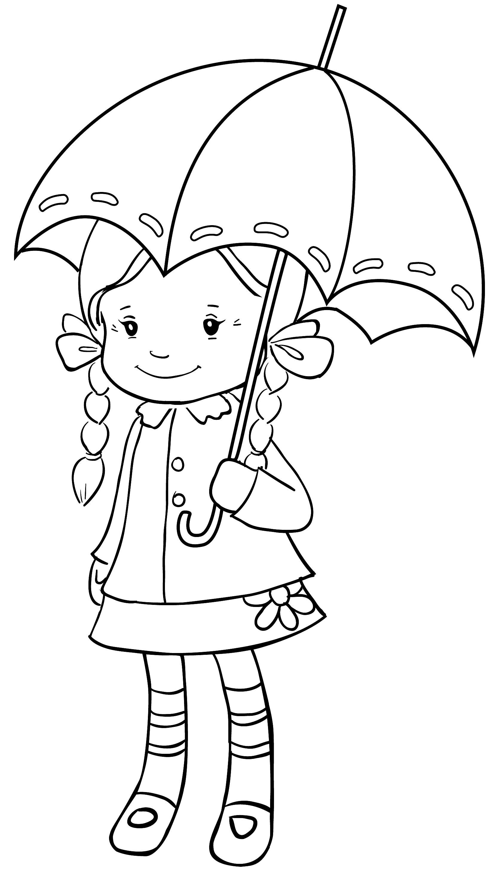 Spring rain coloring pages - Crissy And Umbrella Kids Coloringcoloring Pagessilhouette