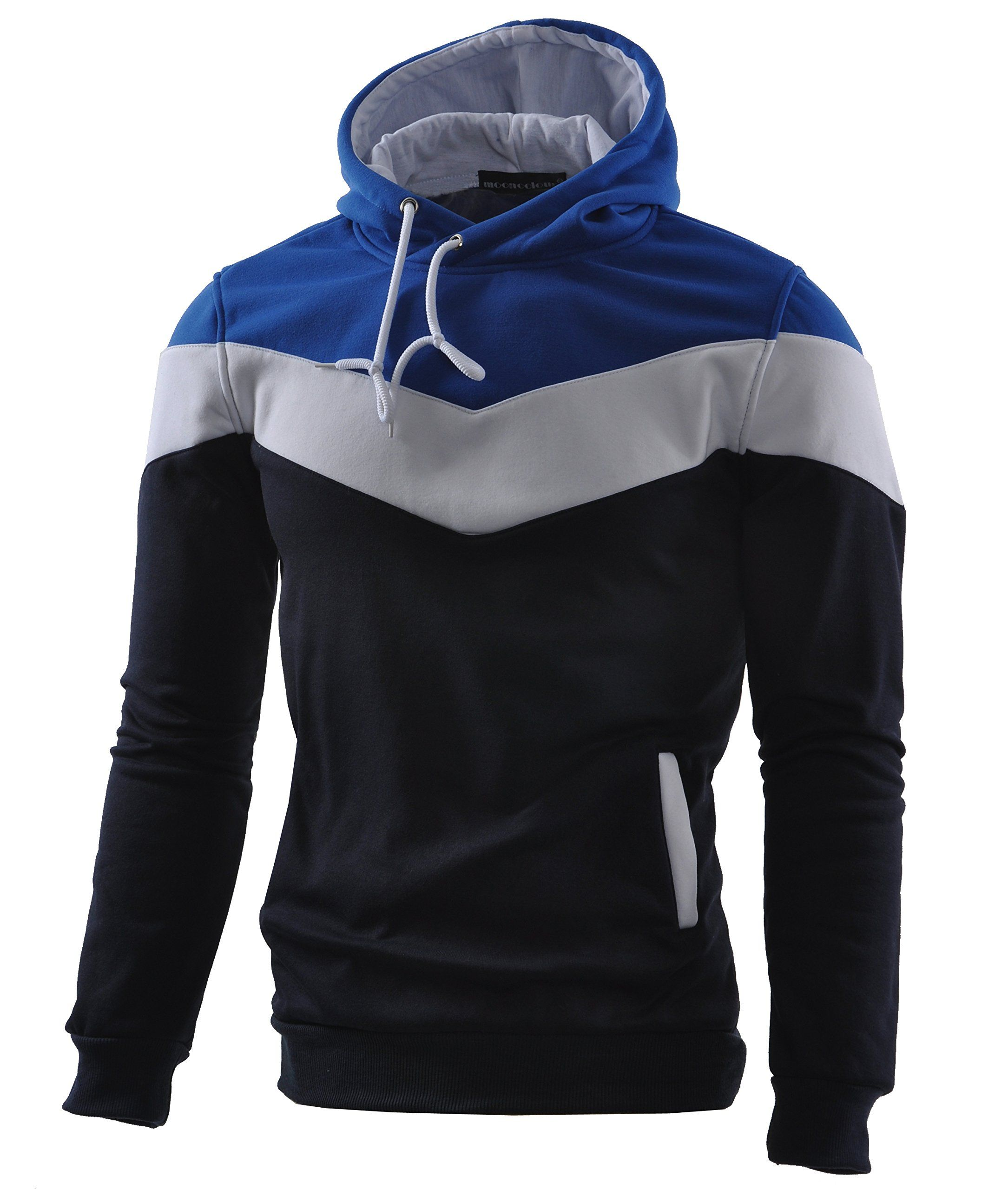 Amazon.com  Mooncolour Mens Novelty Color Block Hoodies Cozy Sport Autumn  Outwear  Clothing f218236136f