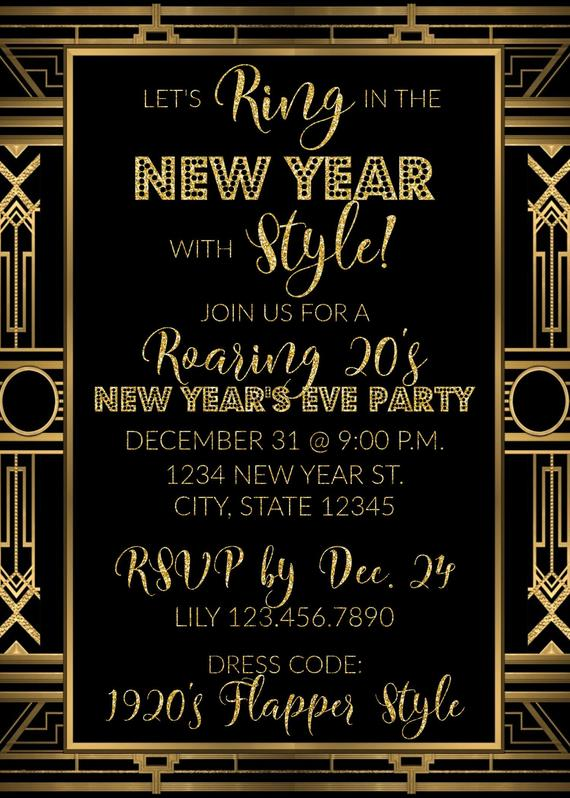 Roaring 20 S New Year S Eve Party Invitation Ring In The New Year New Years Party I New Year S Eve Party Themes 20s Party Invitation New Years Eve Invitations