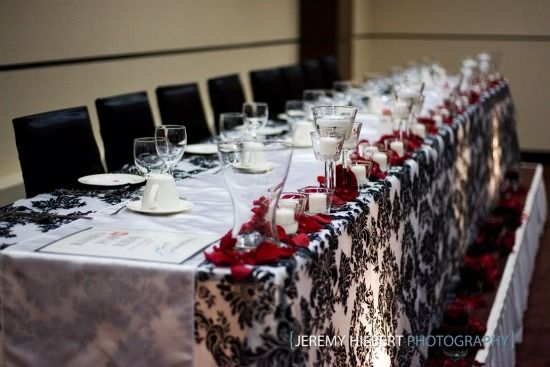 Head Table Decor Wedding Reception Red White Black