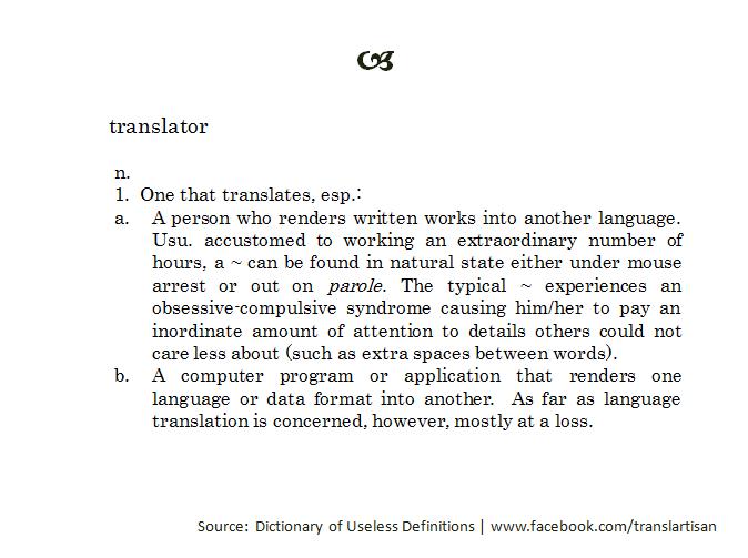 "günstig kaufen Bestbewertet authentisch Designermode A definition of ""translator"" from the Dictionary of Useless ..."