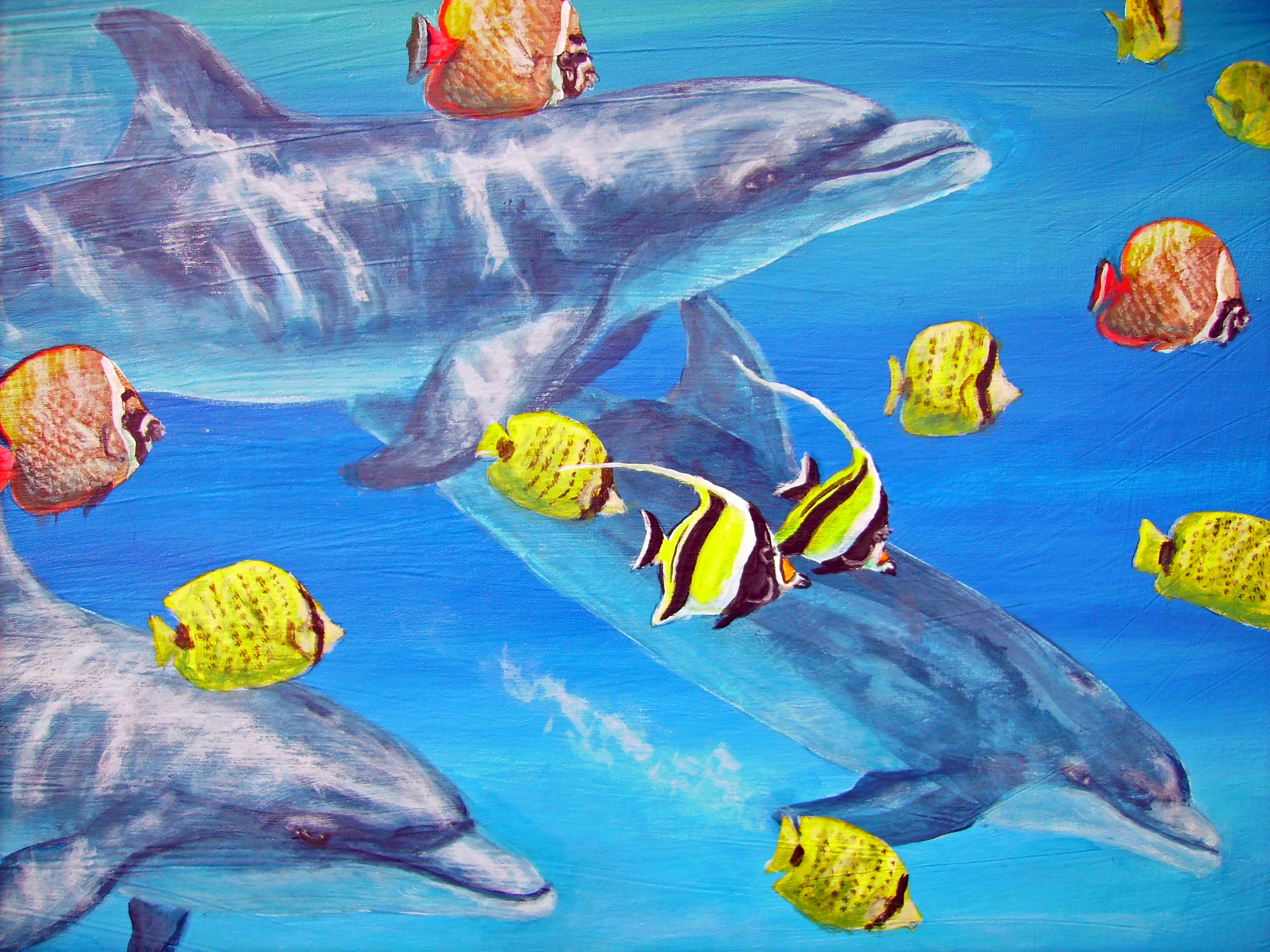 Painting of dolphins and tropical fish underwater | My ...